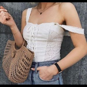 Free people intimately lace up corset bodysuit